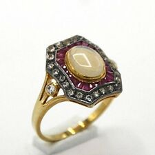 Opal Ring Opal Ruby & White Topaz 925 Silver Art Deco