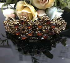 ANtique Gold Tone Rhinestone brown color metal Hair Clip Barrette 680117