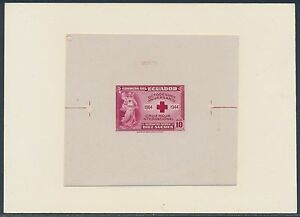 """ECUADOR #C134P DIE PROOF ON INDIA, ON CARD """"RED CROSS"""" WITH CONTROL NO. BS3581"""