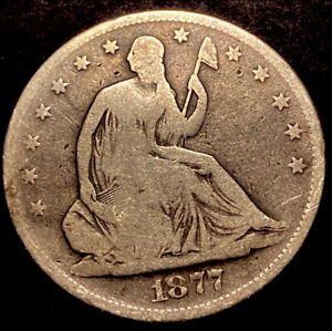 """1877 S Seated Liberty Silver Half Dollar 50c Rare Micro """"S"""" Mint Mark Type Coin"""