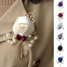 Wedding Bride Bridesmaid Artificial Rose Pearl Flower Corsage Brooch Boutonniere