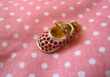 Red Baby Shoe Charm Pendant Bootie~Gold & Silver