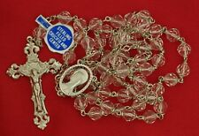 CHAPEL ROSARY STERLING SILVER  FILLED CLEAR GLASS BEADS FACETED ROSARY