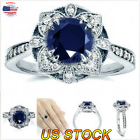 Exquisite Blue Sapphire Zircon Princess Wedding Ring White Gold Jewelry Size6-10