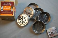 KILNER JAR LIDS - SET OF 6 FLOWER LIDS WITH HOLE FOR STRAW - NEW IN BOX