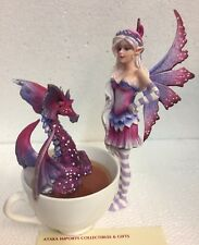 Magenta Faery Fairy w Naughty Sorry Dragon Statue Figurine Amy Brown Collection