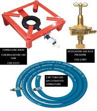 FORNELLONE A GAS CM 40 X 40 IN METALLO FORNELLO + REGOLATORE E TUBO