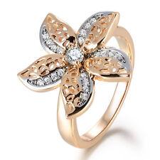 Plumeria Flower Silver & Gold Filled Crystal CZ Rhinestone Women Lady Party Ring