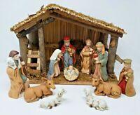 Vintage Sears Nativity Set Manger Set 97889 Stable & 11 Porcelain Figures