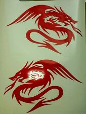2 X Dragón Chino Tribal-Rojo-Corte De Vinilo Coche Decal Sticker, Pared Arte portátil
