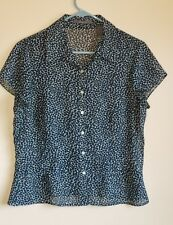 Liz Claiborne button down sheer top Size 10 geometric Blue, Black and White C3