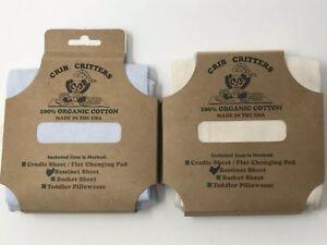 BLUE / BEIGE CRIB CRITTERS 100% Organic Cotton Bassinet Sheet,  MADE IN USA