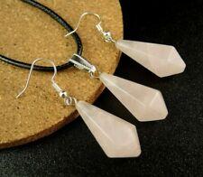 Rose Quartz Gemstone Pendulum Statement Necklace & Earrings Set #1052