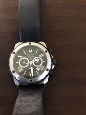 Bulova Mens  Marine Star Analog Display Quartz Watch, Black Leather Band