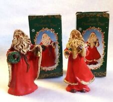 "Russ Berrie Santa Figurines Joys of Christmas Past Old World 3.5"" Set of 2"