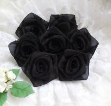 "1.5"" Black Organza Ribbon Roses Flowers/ Appliques -Lots 24 Pcs(R0084B)"