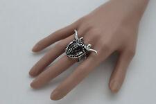 Women Silver Metal Ring Fashion Jewelry Elastic Band Texas Long Horn Bull Cow TX