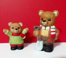 New ListingFather & Son Shoveling Snow Teddy Bears Homco Figurines