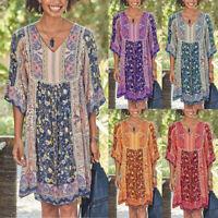 Women Plus Size Boho Floral Print Mini Dress Baggy Loose Summer Casual Sundress