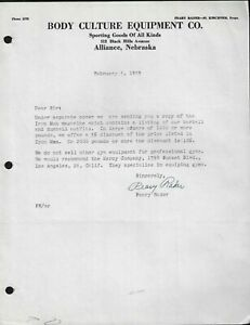 """1959 Alliance,NE - Body Culture Equipment Co. """"Peary Rader"""" Signed Letter"""