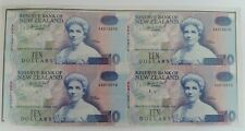 1993 New Zealand AA Prefix Block of 4 × $10 Notes in Reserve Bank issued Folder