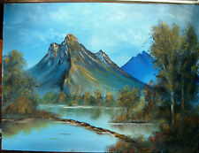 BLUE MOUNTAIN LAKE AND CABIN  24x18 Oil Landscape on Canvas by Artist Klein