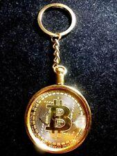 "Large Bitcoin Gold-Tone Novelty Medallion Coin Keychain 1.75"" Diameter 4.5"" Long"