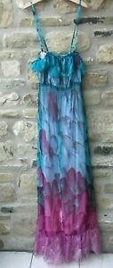 Ladies A WEAR Feather Print Maxi Dress Size 10 Womens Summer Day Evening