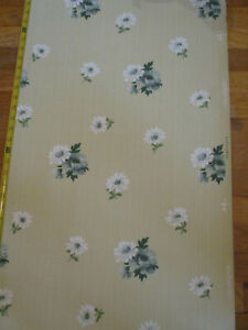Great Vintage 1930's 40's Vintage Wallpaper -Green/White Floral – 9.4 yds -5 pcs
