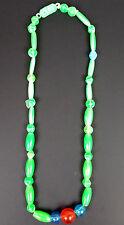 "Plastic Mardi Gras Bead Necklace Green Blue 16"" Vintage 1960s Hong Kong Nice Fun"