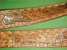 Men's Vintage Brown Tooled Leather Belt Size 38