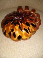 Handblown Glass Pumpkin Amber Brown Glitter Bronze