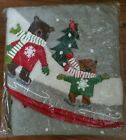 Crate AND Barrel Christmas Tree Skirt applique  Skating Bears In Snow 52 In new