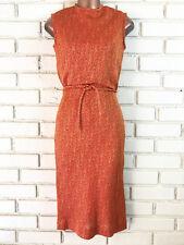 Vintage California Charmer Orange Gold Thread Sleeveless Shift Dress Cinch Waist