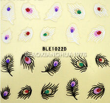 3D Glitter Peacock Tail Design Nail Art Stickers Decals Decoration Series 1022D#