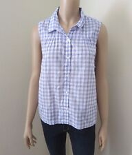 NEW Gilly Hicks by Abercrombie Womens Sleeveless Top Size Large Plaid Shirt