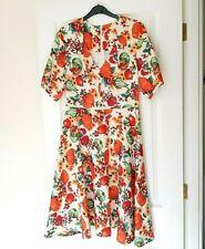 Hell Bunny Vintage 40/50s Cream Orange Midi Dress Autumn 'Harvest' Pumpkin S 10