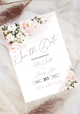 10 Personalised Save The Date/New Date Blush/Dust Pink Wedding Invitations Cards