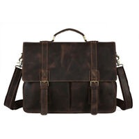 """Leather Men's 14"""" Laptop Messenger Bag Crossbody Business Briefcase Shoulder Bag"""