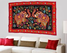 Vintage Cotton Hand Embroidered Red Elephant Wall Hanging Home Decor Tapestry