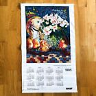 1995 vintage calendar tapestry wall decor colorful hanging art