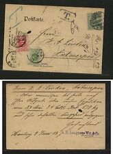 Germany   post  card  to  Belgium, postage  due stamps   1903           KL0810
