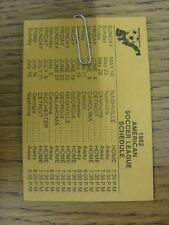 1982 Fixture Card: Soccer - Pennsylvania Stoners (single card). Any faults with