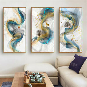 Golden and Blue Ink Painting Canvas Abstract Print Poster Wall Home Decor