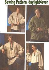Men Women Pirate Renaissance Costume Shirt Blouse Sewing Pattern  3519 XS-XL #v
