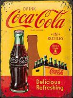 Coca Cola in Flaschen (Kiste) Große Geprägtes Metall Zeichen 400mm x 300mm (Na )