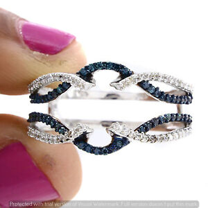 2.00Ct Round Blue Sapphire & Diamond Guard Wrap Engagement Ring 14k Gold Finish