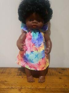 Miniland Doll Clothes handmade dress 38cm watercolor birds