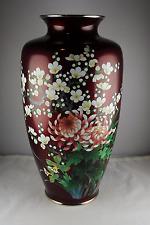"""Vintage Japanese Ando Cloisonne 12"""" Aksake Pigeon Blood Floral Enamel Vase"""