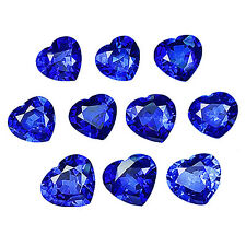 EXCELLENT 31.30 CT 10 PCS HEART SHAPE BLUE SAPPHIRE LAB CREATED CORUNDUM